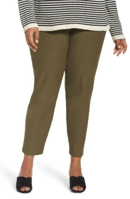 XL L Eileen Fisher Olive Green Washable Stretch Crepe Slim Ankle Pants XS