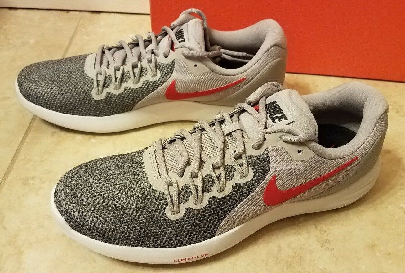 012375f00f New Nike Lunar Apparent Men Athletic Running shoes Sneaker Grey Red 908987  sz 11