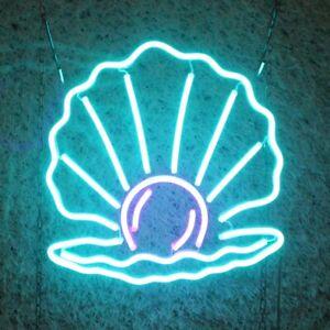 Neon Wall Art Sign Light up Illuminated Mains - Mermaid Shell Scallop 30 x 30cm
