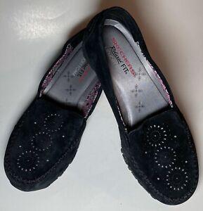 Skechers-Suede-Laser-Cut-Slip-On-Shoes-Bikers-Expressway-Memory-Foam-Black-7-5M