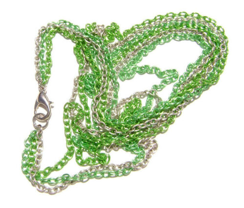 11# Chain Necklace Handmade 3 Strand Silver Lime Green ALL SIZES 5 or 1 Qty