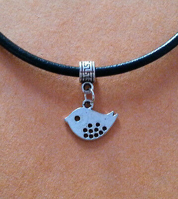 New UK Seller Black Leather Choker Necklace with Infinity Celtic Knot Charm