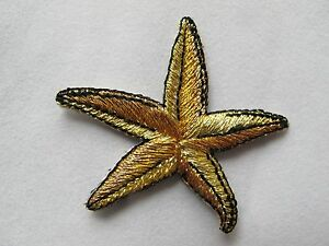 3293-Golden-Starfish-Embroidery-Iron-On-Applique-Patch