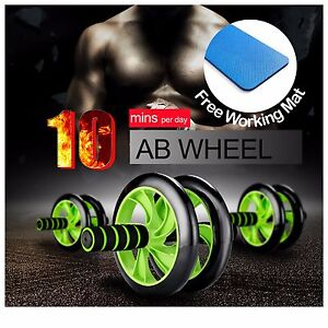 AB-FITNESS-WHEEL-ROLLER-Abdominal-Waist-Workout-Exercise-Gym-With-FREE-KNEE-MAT