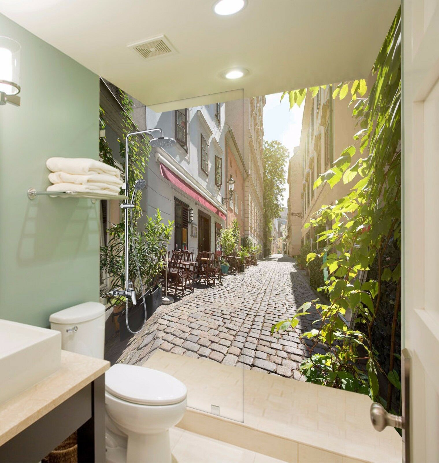 3D Street House 512 WallPaper Bathroom Print Decal Wall Deco AJ WALLPAPER AU