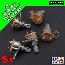 5x 100k Ohm Linear Taper Rotary Potentiometer B100k Withon Off Switch Us 5pcs U50