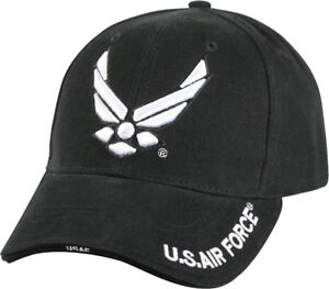 66e1b424af8a8 Black Deluxe US Air Force Wing Logo Low Profile Baseball Hat Cap ...
