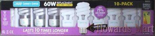 10 New Feit Electric Large Screw 13W = 65W Energy Saving CFL Spiral Light Bulbs
