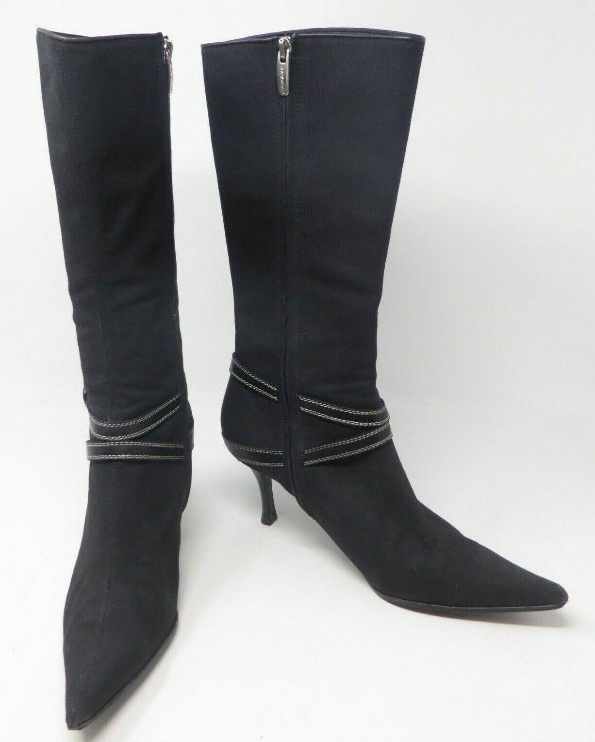 Sergio Rossi Black Canvas Leather Buckle Zipper 14  High Heel Boot US 9.5 Black
