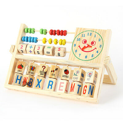 Baby Boy Girl Pre-school Educational Wooden Toy Letter Number Versatile Flap D66