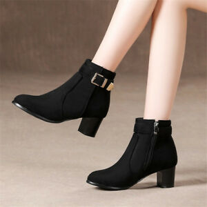 d3d87d03b35 Details about Women s zipper Buckle Short Ankle Boots Round Toe Chunky  Block Heels Shoes New