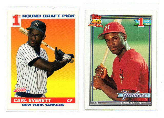 2 Card Lot 1991 Score And Topps Carl Everett Rookie Cards New York Yankees