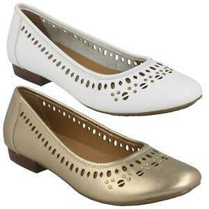 Ladies Clarks Henderson Ice Leather Ballet Pump Style Slip On Shoes D Fitting