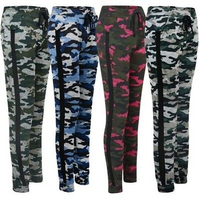 Activewear Ladies Camouflage Tracksuit Trousers Jogging Sweatpants Cuffed Bottoms Size S-xl