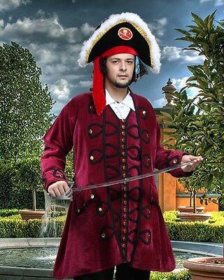 Pirate Coat Captains Velvet Burgandy Sizes S/M - XXL BRAND NEW  (MC1001)