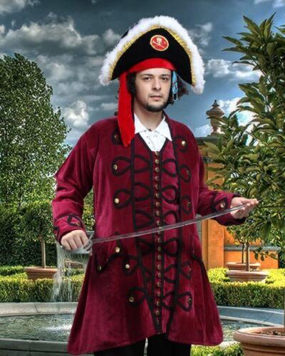 Pirate Coat Captains Velvet Burgundy Sizes S/M - XXL BRAND NEW  (MC1001)