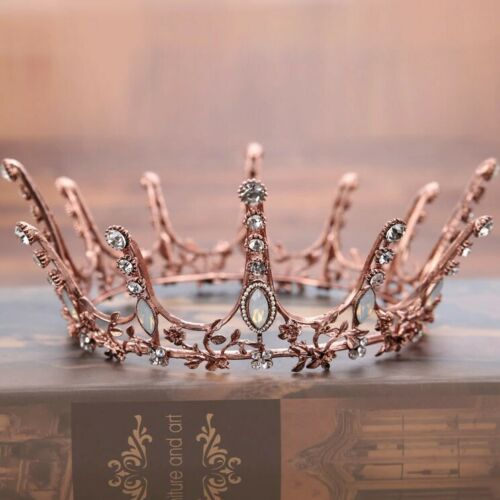ROUND ROSE GOLD CROWN//TIARA WITH FAUX OPAL /& CLEAR CRYSTALS BRIDAL WEDDING RACES