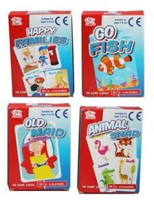 Pack-4-Classic-Chldrens-Card-Games-Kids-Travel-Fun-Old-Maid-Animal-Snap-Go-Fish