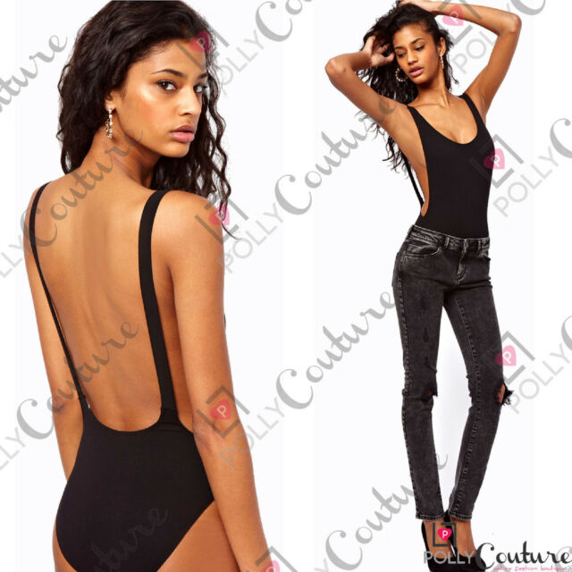 Womens Low Cut Backless Black White Ladies Bodysuit Body Leotard Vest Tank Top
