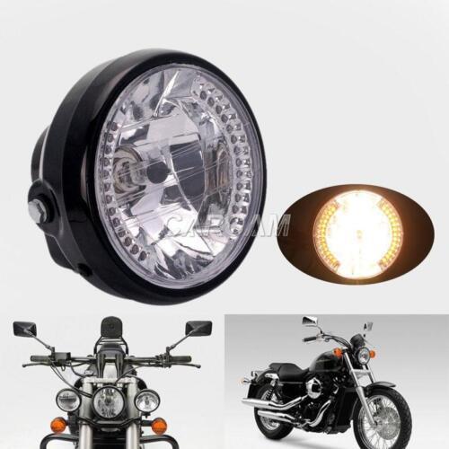 "7/"" HALOGEN MOTORCYCLE HEADLIGHT /& BUCKET AMBER LED ANGEL EYE TURN SIGNAL LIGHT"