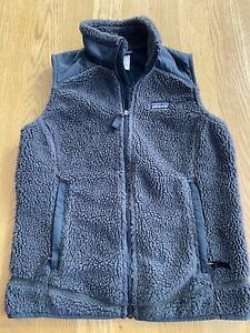Womens-Patagonia-Retro-X-Deep-Pile-Dark-Gray-Fleece-Full-Zip-Up-Vest-Jacket-Sz-S