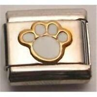 GOLD & WHITE PAW ITALIAN CHARM DOG KITTEN PUPPY PET 9MM CLASSIC FREE SHIPPING
