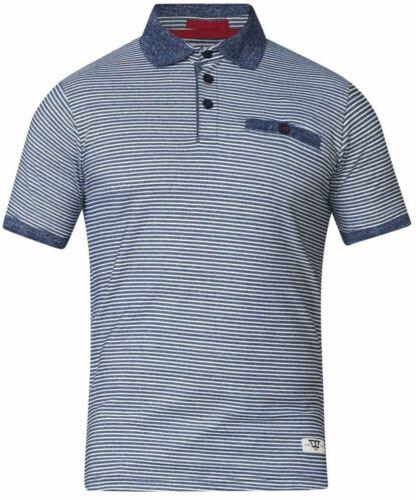 4XL 5XL D555 Tyrone Stripe Short Sleeve Polo Shirt in Blue 3XL 6XL