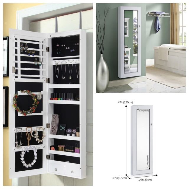 Lockable Full Length Door Hanging Mirrored Jewelry Cabinet Makeup Organizer  LED