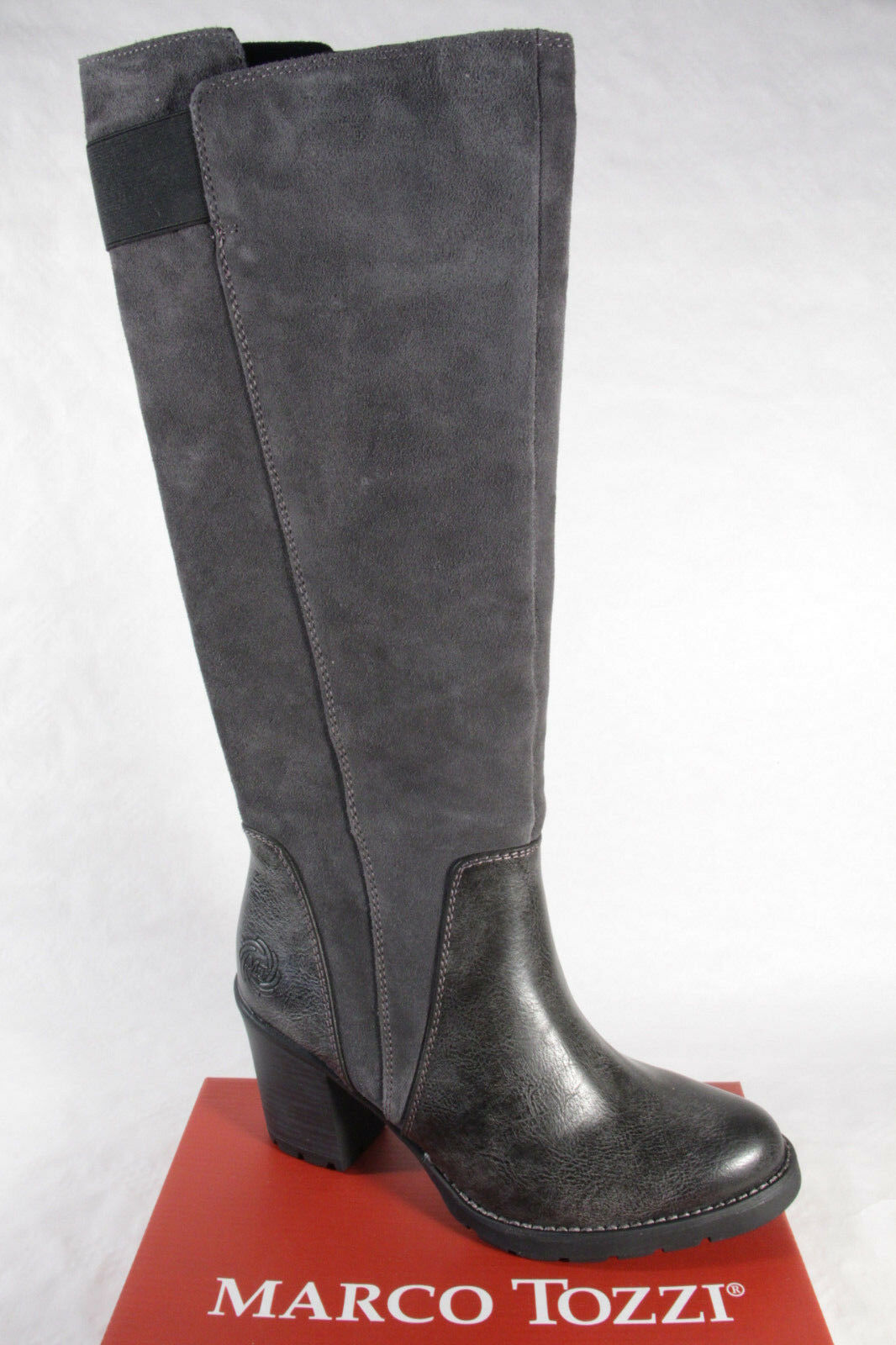 Grandes zapatos con descuento Marco Tozzi 25613 Botas, Botines, botas, Cuero Auténtico gris NUEVO