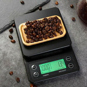 Electronic LCD Digital Kitchen Food Scale Drip Coffee Weighing with Timer(Green)