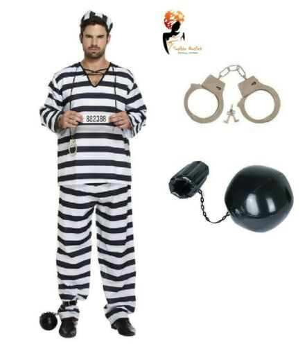 Hommes Prisonnier Bagnard Overall Jumpsuit Fancy Dress Costume Stag Party Lot