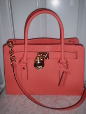 NWT Michael Kors Hamilton Leather East West Satchel Handbag Pink Grapefruit