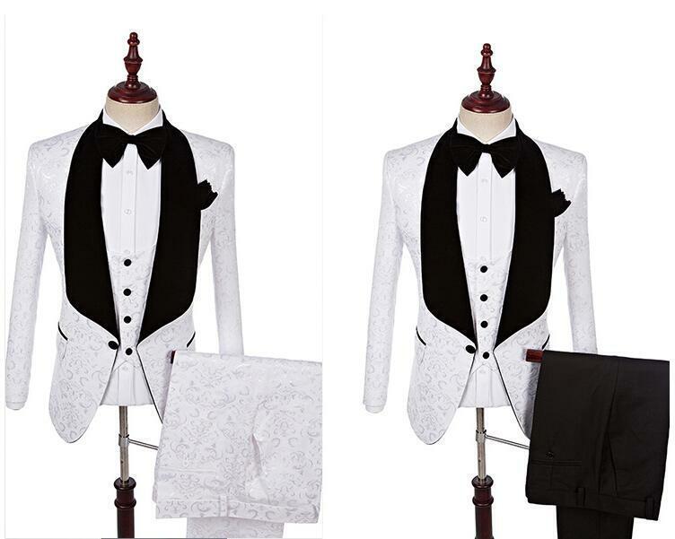 Men One Button Wedding Formal Party Dress Evening 2PCS Suits Coat Pants White NW
