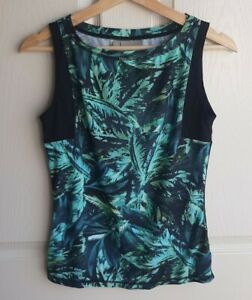 Athleta-Womens-Electric-Jade-Green-Palm-Napali-Rashguard-Tank-Top-Shirt-Size-XS