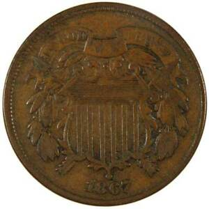 1867 Two Cent Piece F Fine Bronze 2c US Type Coin Collectible