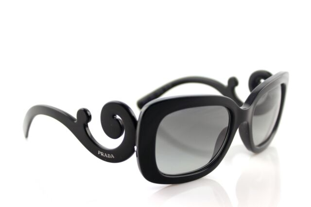 67cf9a93182fb RARE Genuine PRADA Baroque Square Black Sunglasses SPR 27O 1AB 3M1 PR 27OS  270