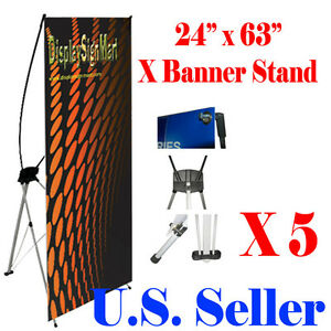 """5 PcS X Banner Stand 24"""" x 63"""" w/ Free Bag , Trade Show Display Banner X-banner"""