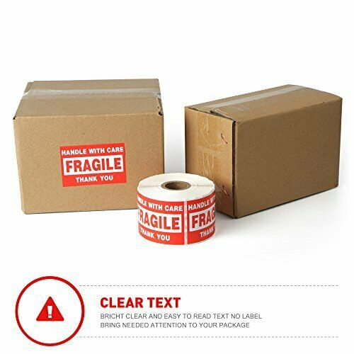 """500 Labels Per Roll Fangtek Fragile 2/""""x3/"""" Handle W// Care Shipping Stickers"""