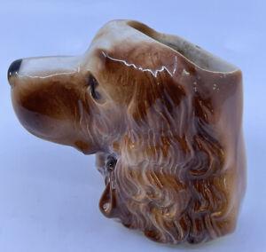 Vintage Royal Copley Cocker Spaniel Pottery Ceramic Dog Planter Wall Pocket