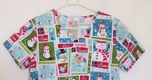 Nurse-Scrub-Christmas-Let-It-Snow-SB-Scrubs-Small-Holiday-Snowman-Birds-V-Neck