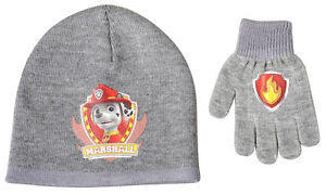 Paw-Patrol-2-teilig-Strick-Winterset-Wintermuetze-Muetze-und-Handschuhe-neu