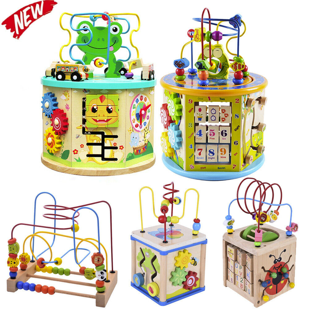 Child Learning Wooden Activity bead Cube Maze Toys kids Circle Educational Gift 2