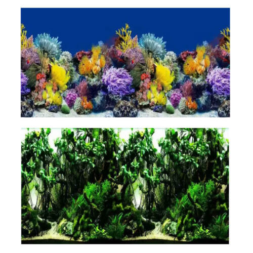 """19.3/"""" x 48/"""" Double Sided Fish Tank Aquarium Background Colored Coral //Green Vine"""