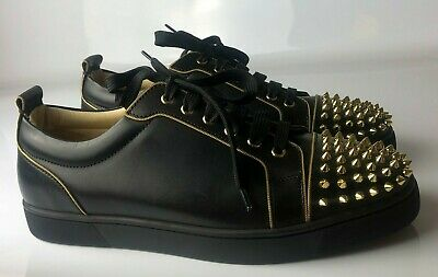 reputable site 22897 80483 Christian Louboutin Junior Gold Spikes Black Leather MENS Sneakers Eu 43 US  10 | eBay