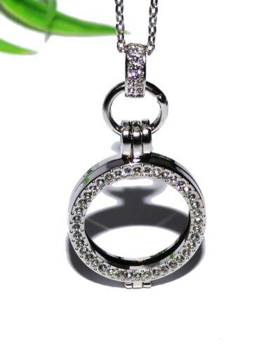 MEDAILLON Kette Anhänger Münze Halter Halskette Strass AUSWAHL KRISTALLE COIN