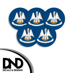 Louisiana-State-Flag-LA-Circle-Sticker-USA-Helmet-Decal-5-Pack-2-5in