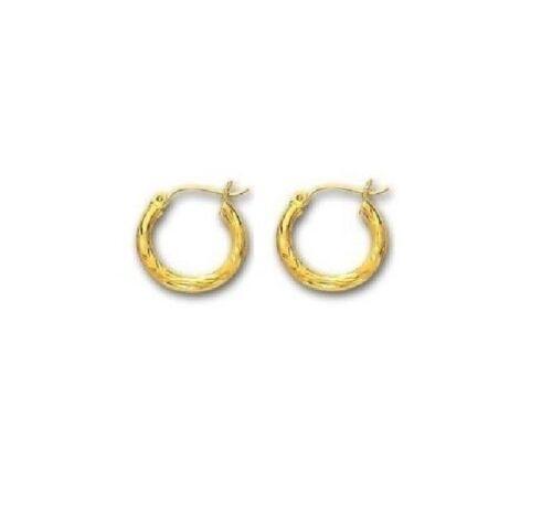 14K réel or jaune tubulaire Hoop Cerceaux 3 x 20 mm Boucles d/'oreilles