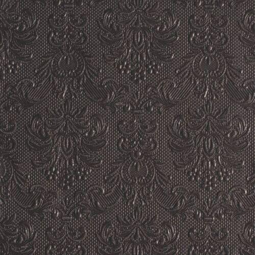 """edel 15 geprägte Servietten/""""Elegance Dark Grey/""""dunkel-grau Blüten Ornamente"""