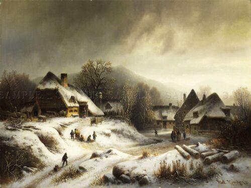 PAINTING LANDSCAPE RURAL DOLL SNOWY VILLAGE EVENING ART PRINT POSTER LF600