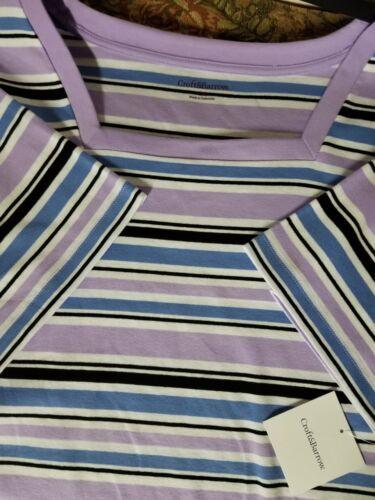 Women/'s Croft /& Barrow top shirt Size 3X Short sleeve Purple Striped shirt New